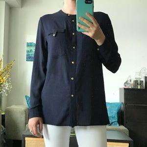 Military Navy button down chiffon shirt blouse S